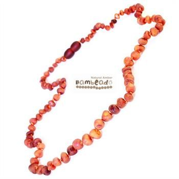 Looking for something unique? This gorgeous premium raw amber necklace comes in cognac. The amber necklace is approx 50 cm in length. Bambeado amber is genuine baltic amber. Each bead is individually knotted to help with safety.    The Bambeado comes together with a plastic screw clasp. The Bambeado is designed to give way at the clasp or one bead will only break off if broken.