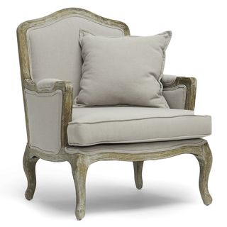 Baxton Studio Charlemagne Traditional French Accent Chair in Ash ...
