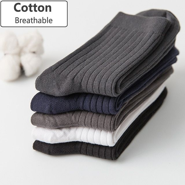25c2a54f30fd Men Cotton Socks Brand New Casual Business Anti-Bacterial Deodorant  Breatheable Man Crew Sock 5pairs / lot Review