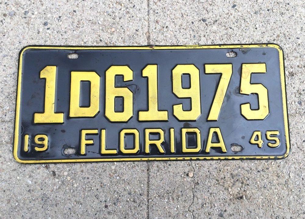 Vintage 1945 Florida LicensePlate Car Tag Black with