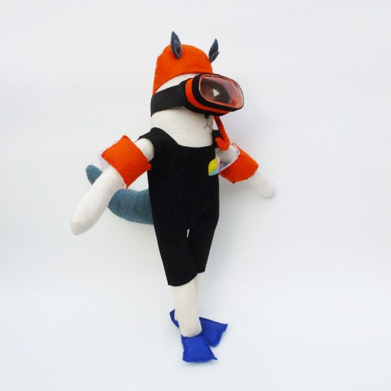 Ooak Wolf doll - diver with snorkel, mask and arm bands- julie de gruchy east