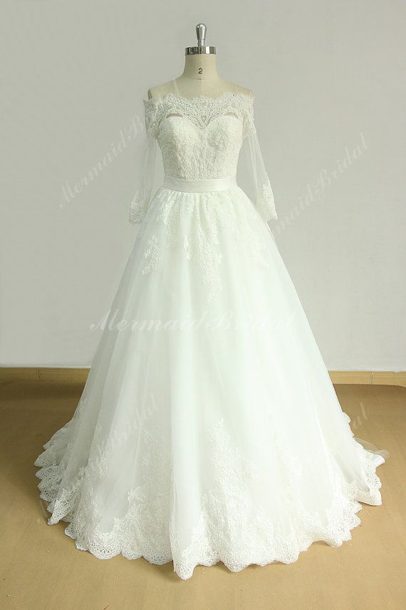 Ivory Off the shoulder a line lace wedding dress with mid sleeves ...