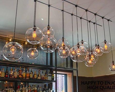 Retro Diy Ceiling Lamp Light Gl Pendant Lighting Edison Bulb Home Bar Club