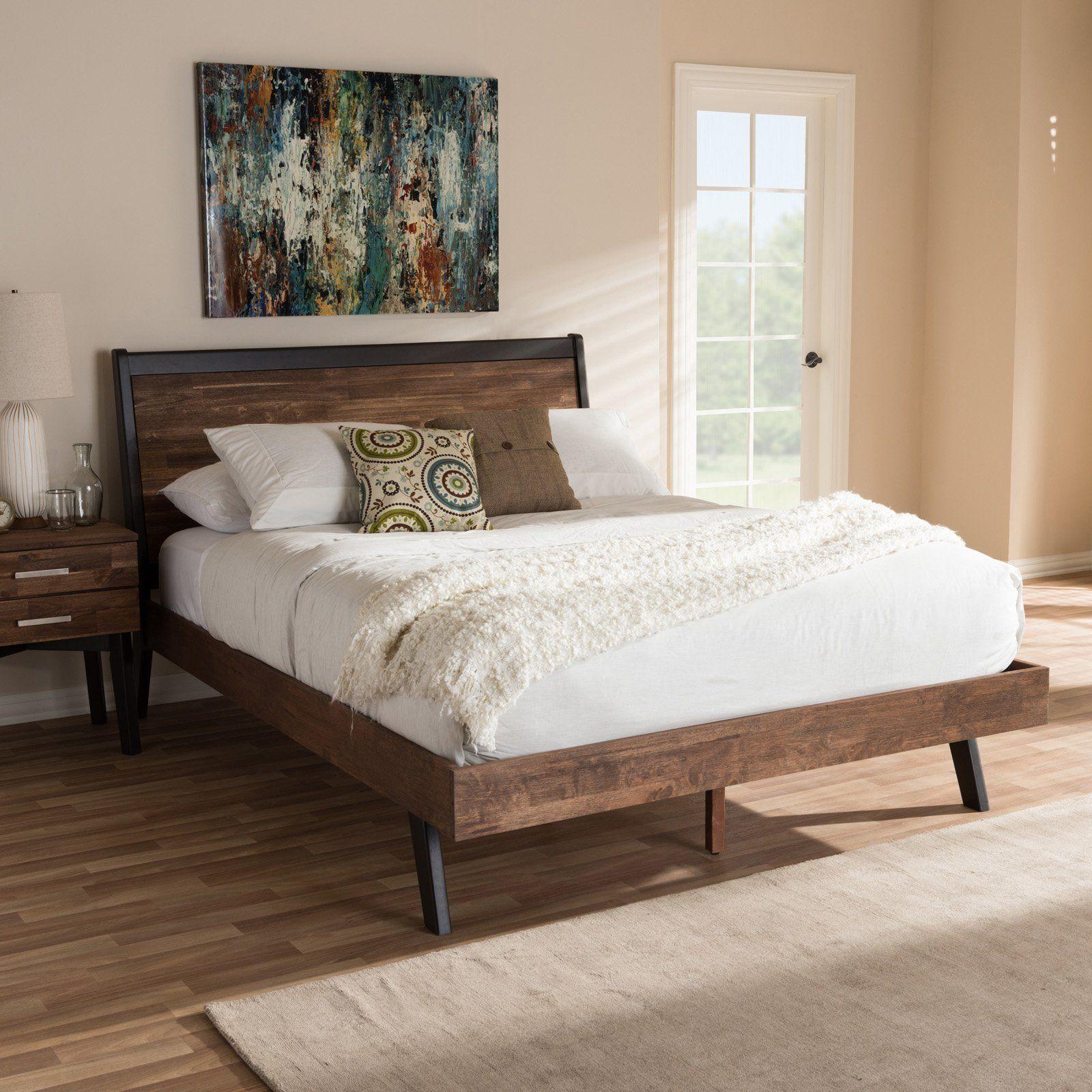 Best Baxton Studio Selena Mid Century Modern Brown Wood Queen 400 x 300