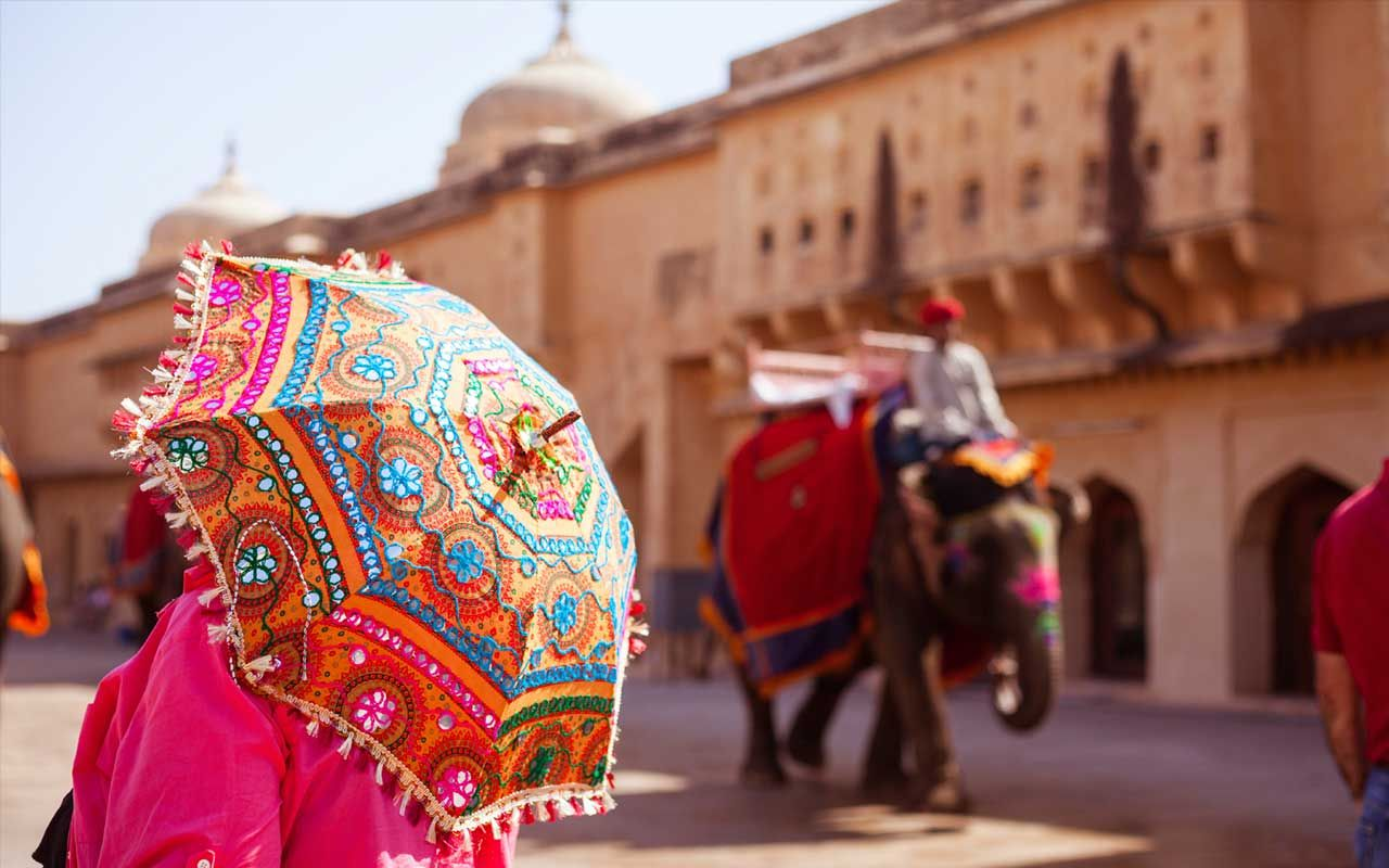 Umbrella with embroidery . #Rajasthan