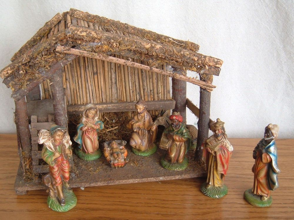 Vintage 9 Piece Nativity Set Hand Painted Italy ITALIAN 1940