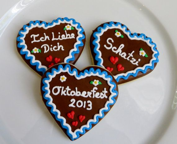 Oktoberfest Decorated Gingerbread Heart Cookies 1 Dozen Party