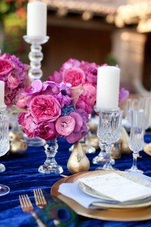 Glamorous Fuchsia Blue Tabletop Fuchsia Wedding Wedding