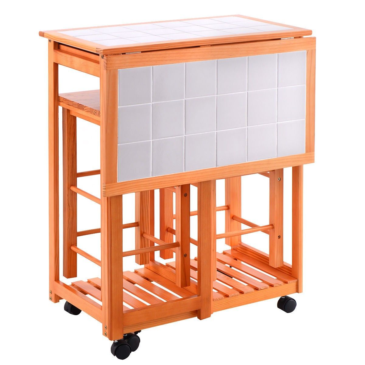 Rolling Kitchen Island Trolley Cart Drop Leaf Table w/ 2 Stools Home ...