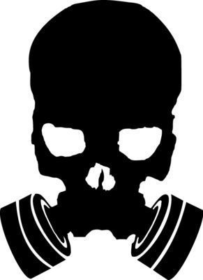 Scary Gas Mask Skull Vinyl Sticker Decal - Choose Size & Color