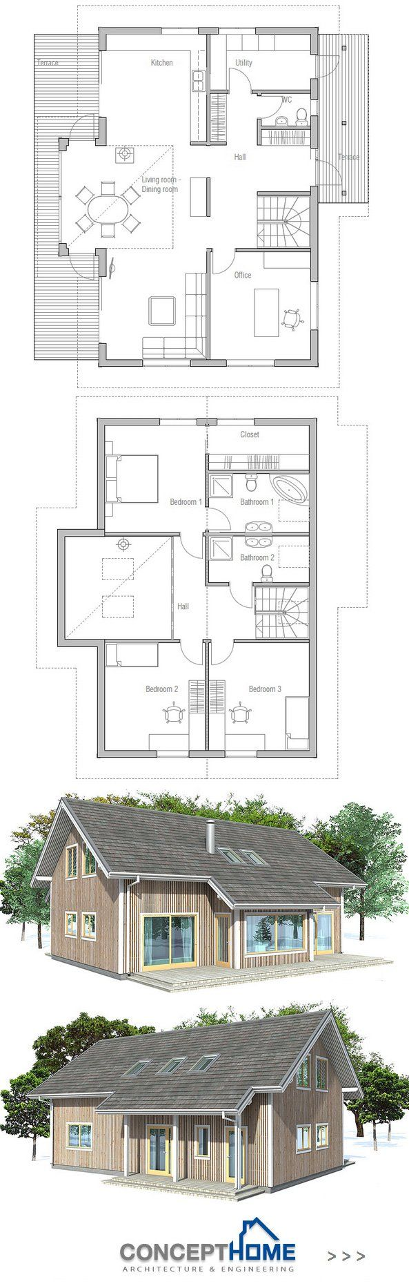 Small house plan i just love the european entrance hall for Practical house plans
