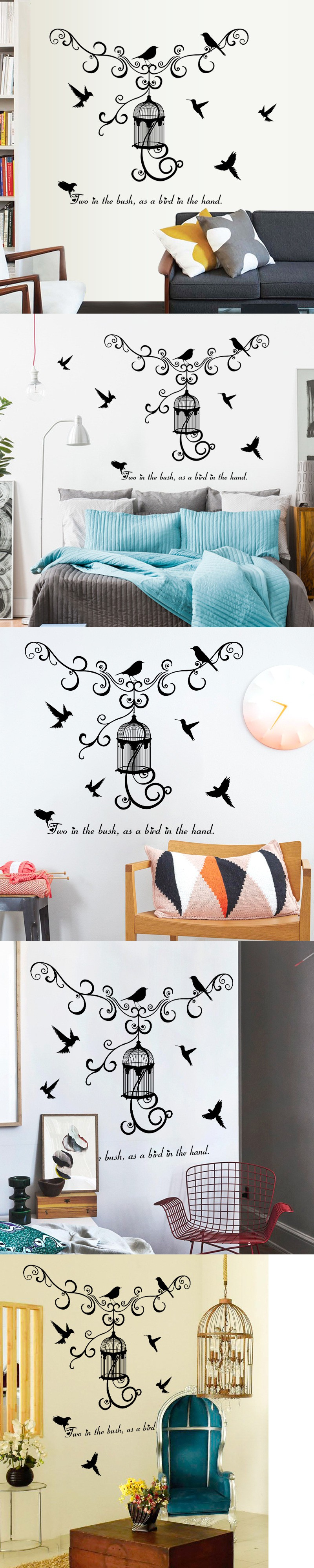 Warm and fun modern birdcage bedroom living room corridor background wall decoration wall sticker home decoration accessories $5.99