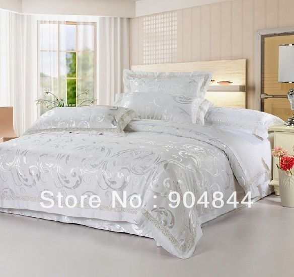 White And Silver Bedding Sets Set Luxurious Jacquard Comforter Set Free Shipping