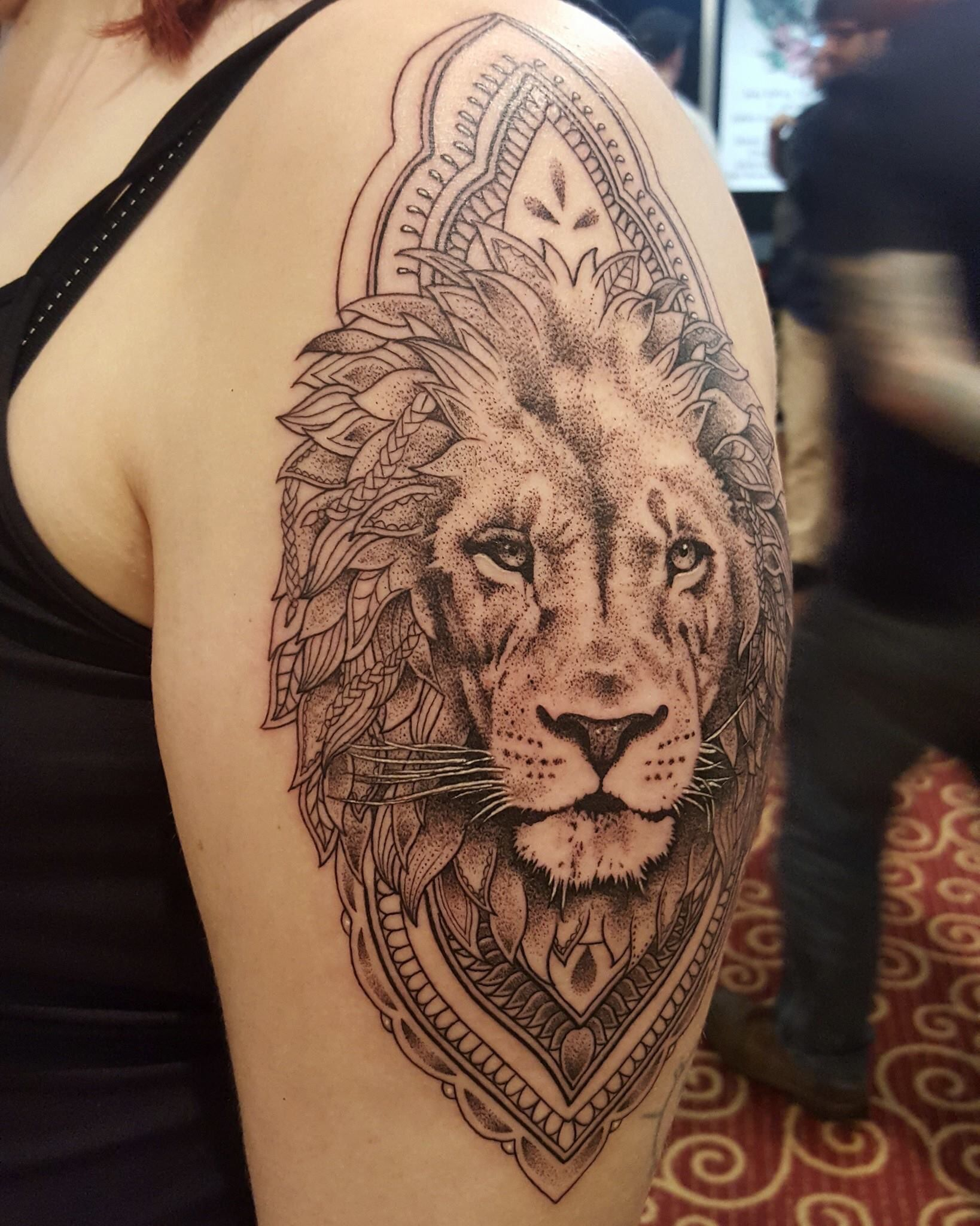 dotwork lion tattoo from bournemouth tattoo convention | inked