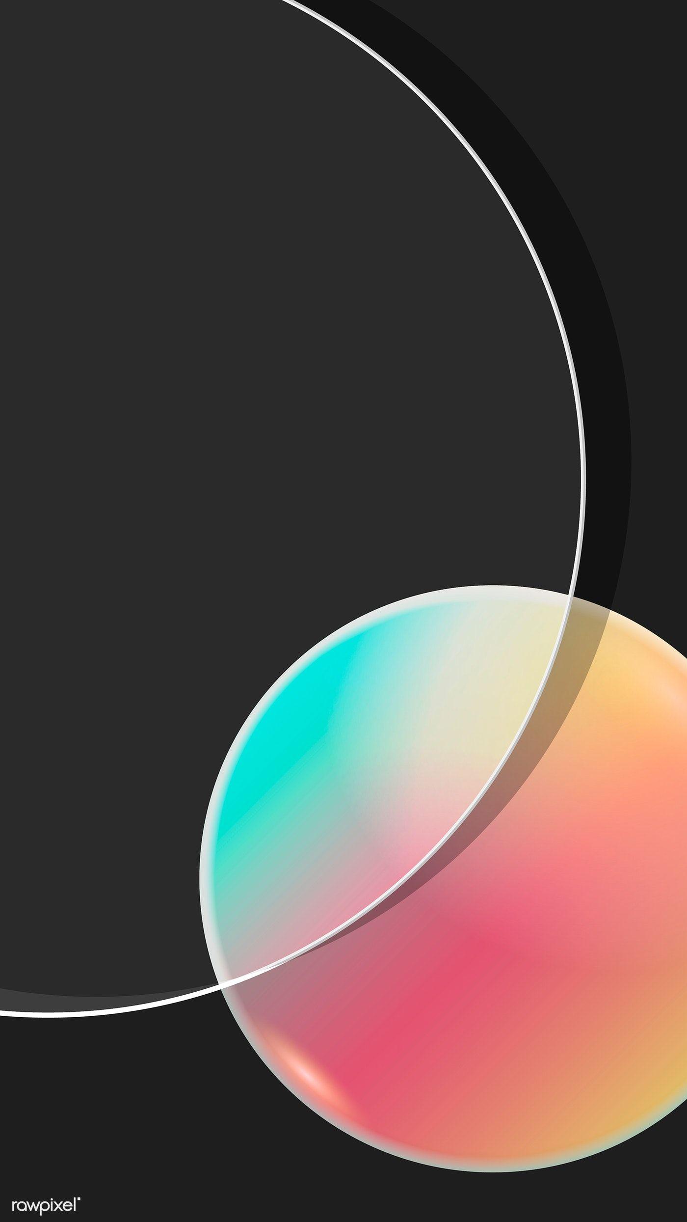 Download premium vector of Colorful round geometric mobile phone wallpaper