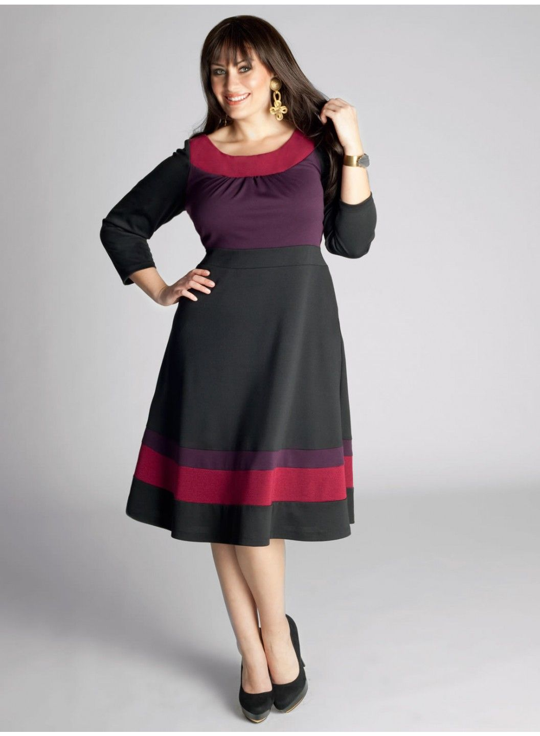 Nellie Colorblock Dress In Berry Yay For Beautiful Plus Size