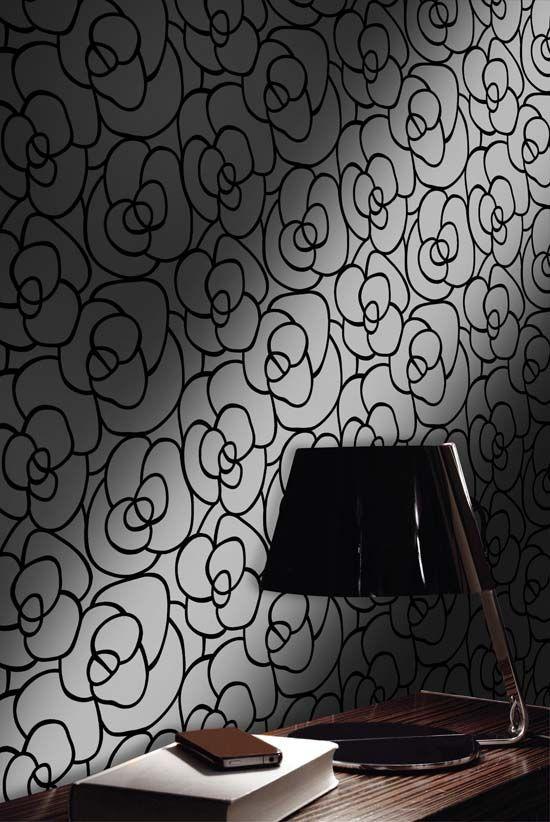 empapelado formas flores papel de parede