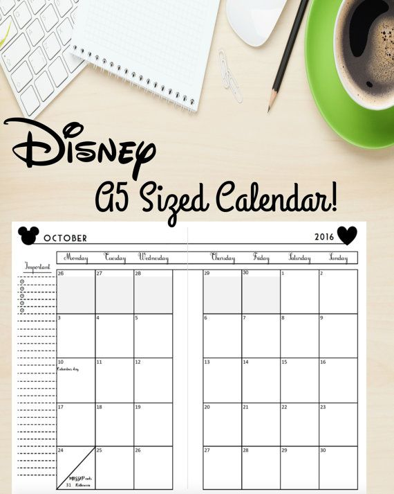 Disney Themed A5 Calendar  Disney Life Planner  by DigitallyOCD