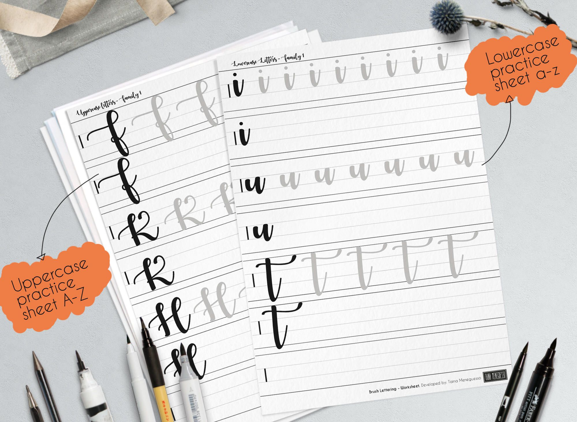 Learn Brush Hand Lettering Printable Worksheets With