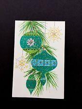 Vintage Unused Flocked & Glitter Xmas Greeting Card Stunning Teal Tree Ornaments