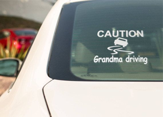Caution grandma driving window decal grandma driving vinyl
