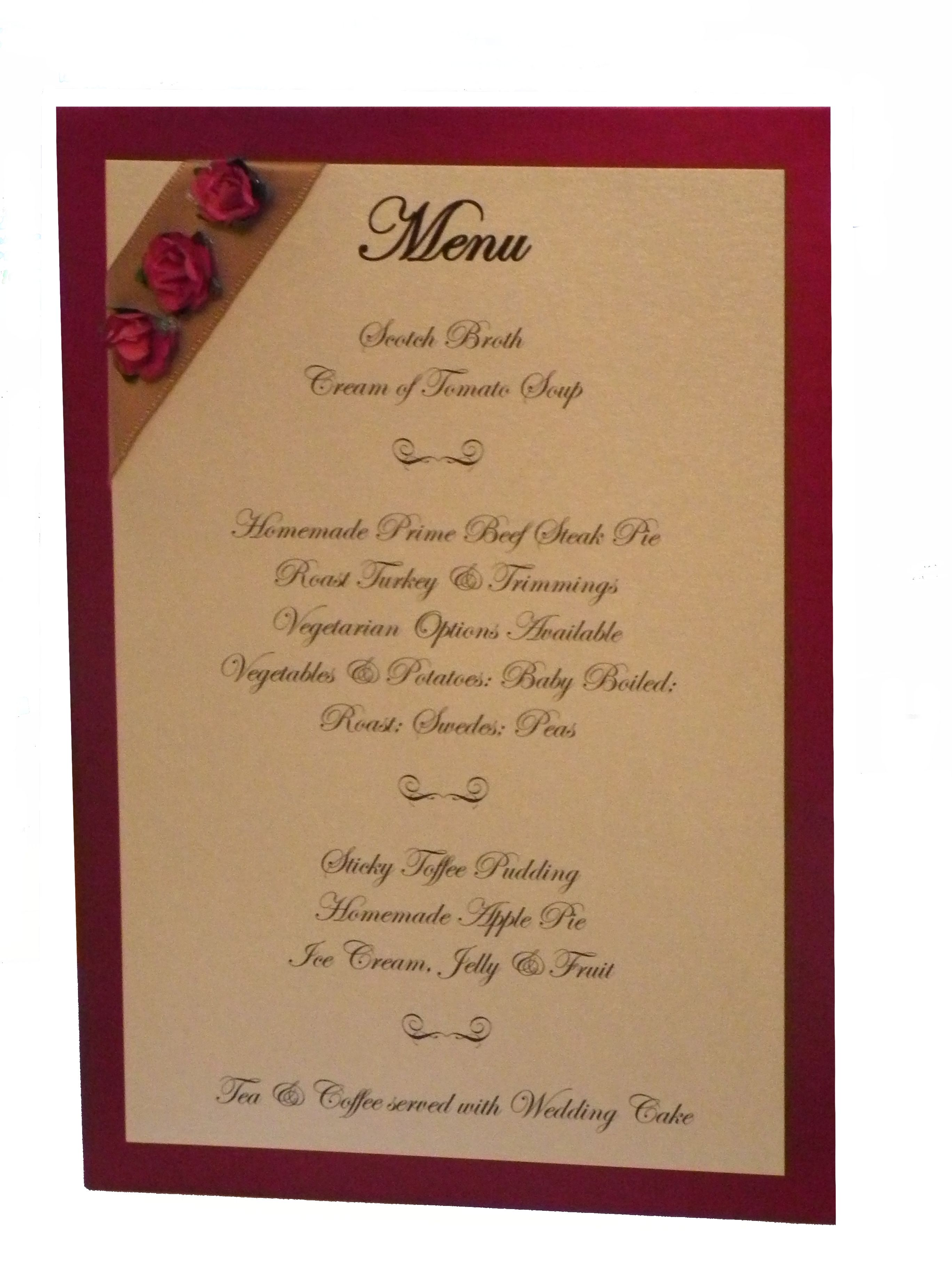 Wedding Breakfast Menu Card Printed On Candlelight Cream