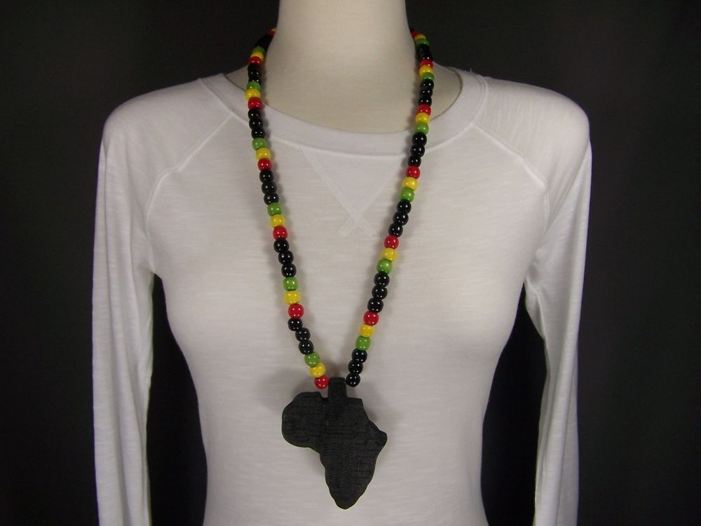 Black wooden africa pendant necklace beads chain african continent black wooden africa pendant necklace beads chain african continent wood 28 long unbranded aloadofball Image collections