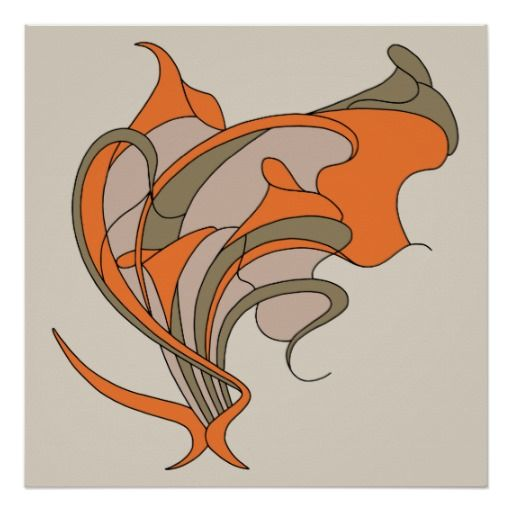 Vector Art Nouveau floral elegance on gray, square Posters