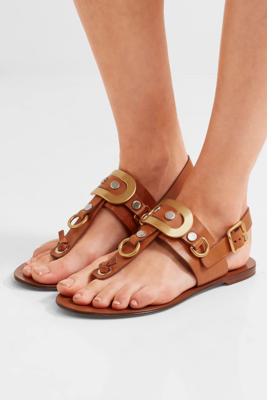 8737a210588 Embellished leather slingback sandals