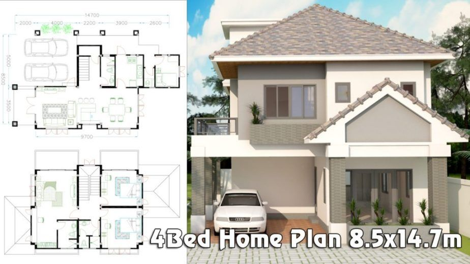 4 Bedrooms Home Plan 8 5x14 7m Samphoas Plan House Plans Luxury Homes Dream Houses House Layouts