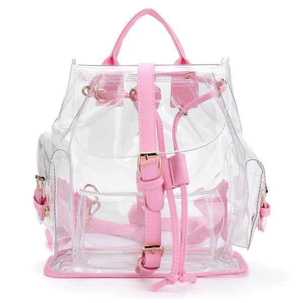 deb9555a839 Women Girl Clear Backpack Cute Plastic Transparent School Bag ($29) ❤ liked  on Polyvore featuring bags, backpacks, bolsos, pink, see through backpack,  ...