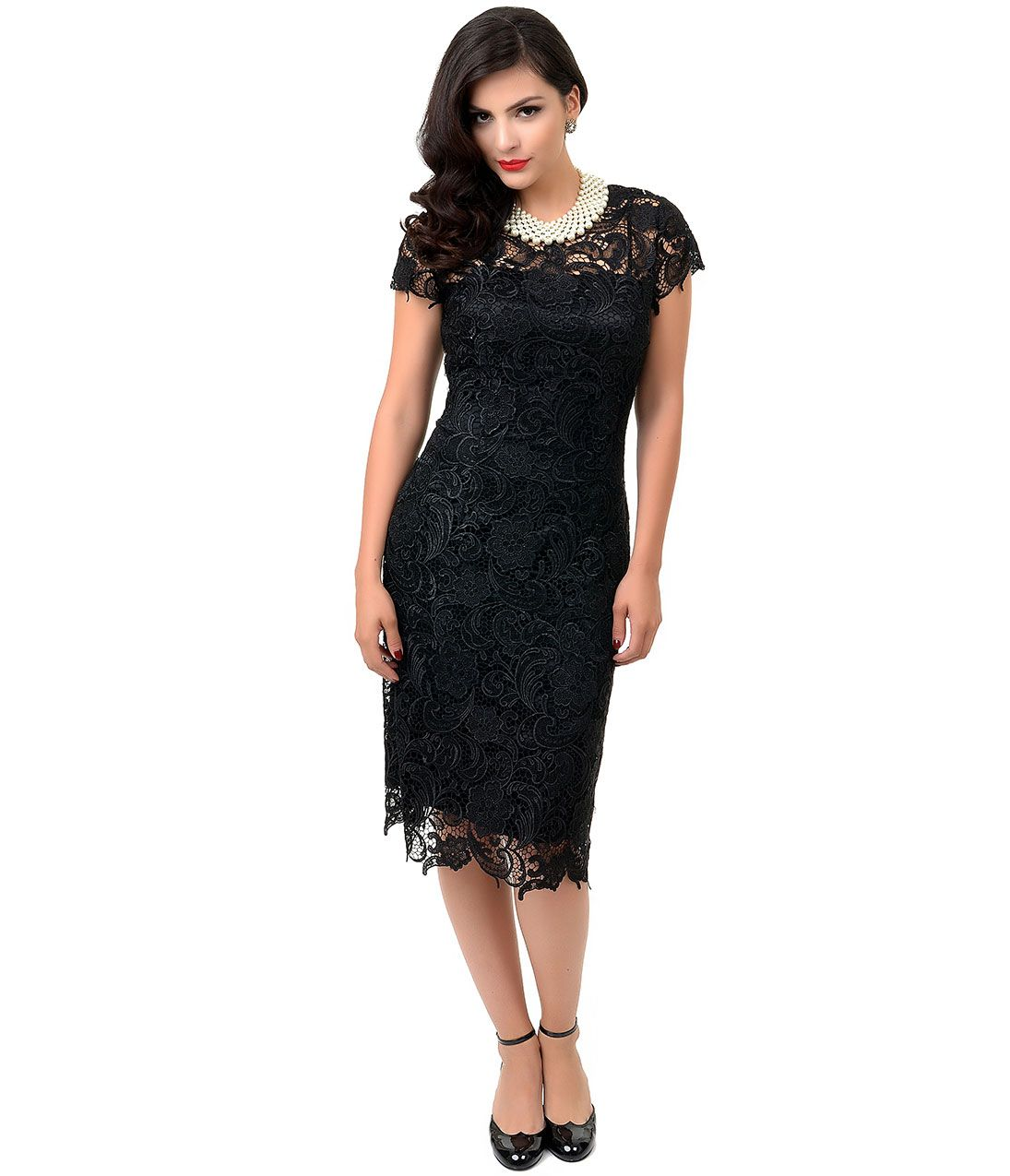 S style black cap sleeve embroidered lace cocktail dress party