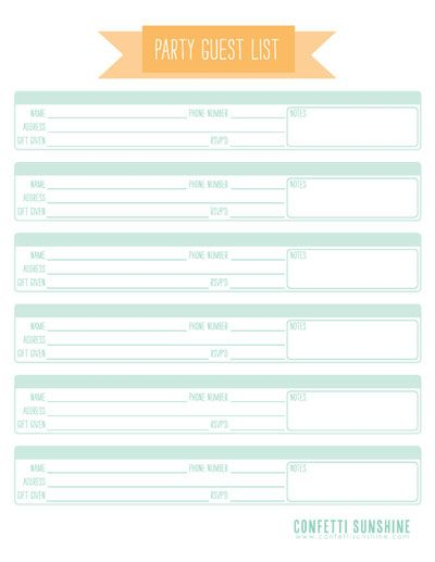 11 Free Printable Party Planner Checklists Guest list, Chart and - party guest list template