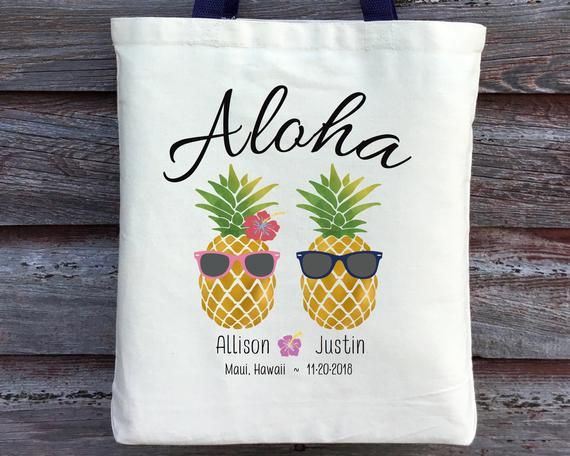 Wedding Welcome Tote Bag Destination Beach Wedding Retro Pineapple Personalized Bags