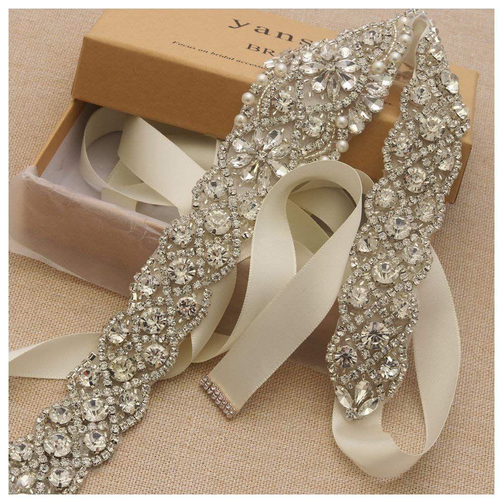 Yanstar Handmade Silver Rhinestone Crystal Wedding Bridal Belt