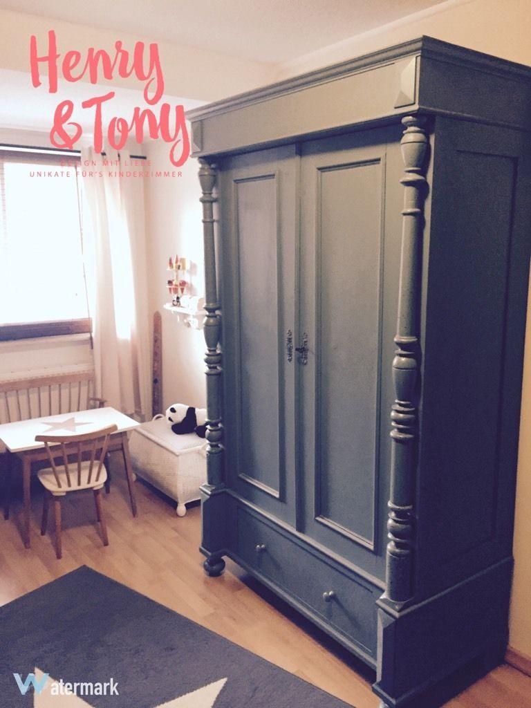 Henry & Tony - Kleiderschrank antik, shabby chic, taubenblau, sehr ...