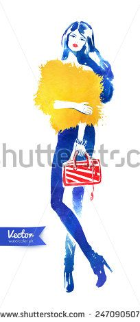 Fashion model with bag. Vector watercolor fashion illustration. - stock vector
