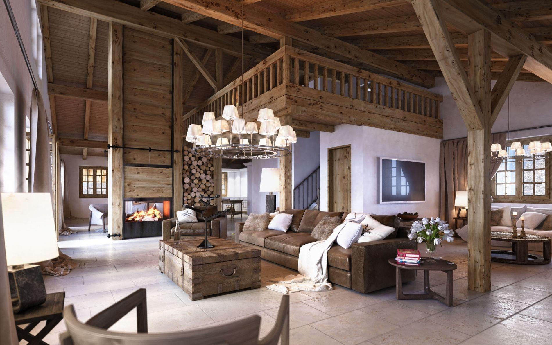 luxus interieur design idee sennhutte im gebirge, stilvoll wohnzimmer einrichten holz | wohnzimmer deko | pinterest, Design ideen