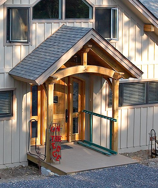 Timber Frame Covered Porch On Contemporary Home Sacred