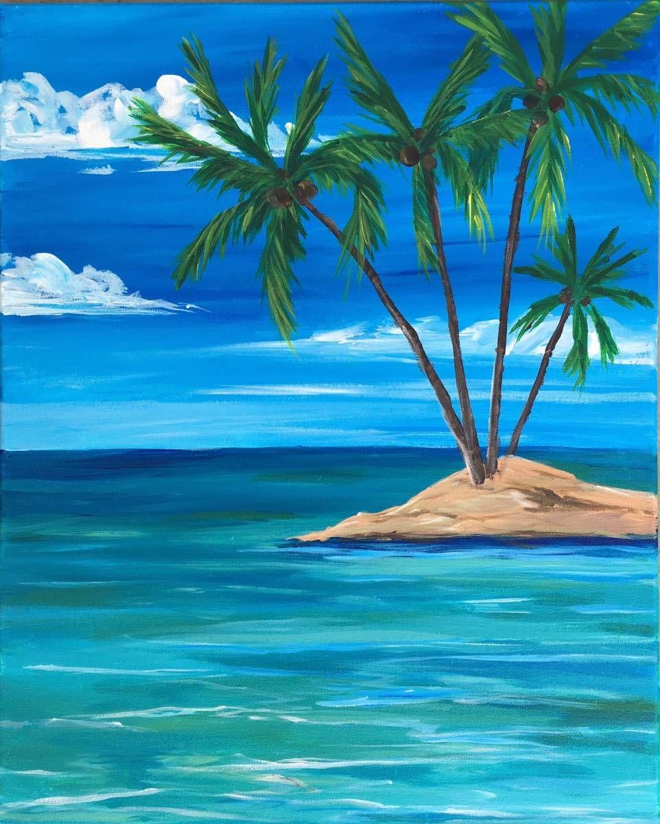 Deserted Island Beach: Simple Acrylic Paintings, Summer