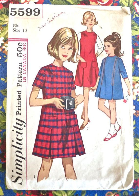 Simplicity 5599 -Vintage 1960s Girls A -Line Dress Pattern | Niños ...