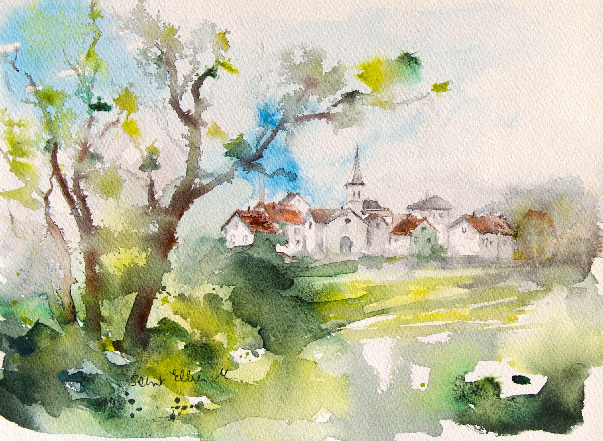 Aquarelle De Village De France Avec Maisons Et Eglise Paysage A L