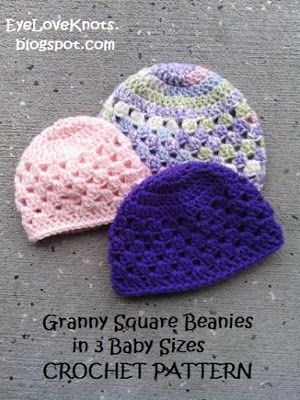 UPDATED! Granny Square Beanie in 3 Baby Sizes - Free Crochet Pattern ...