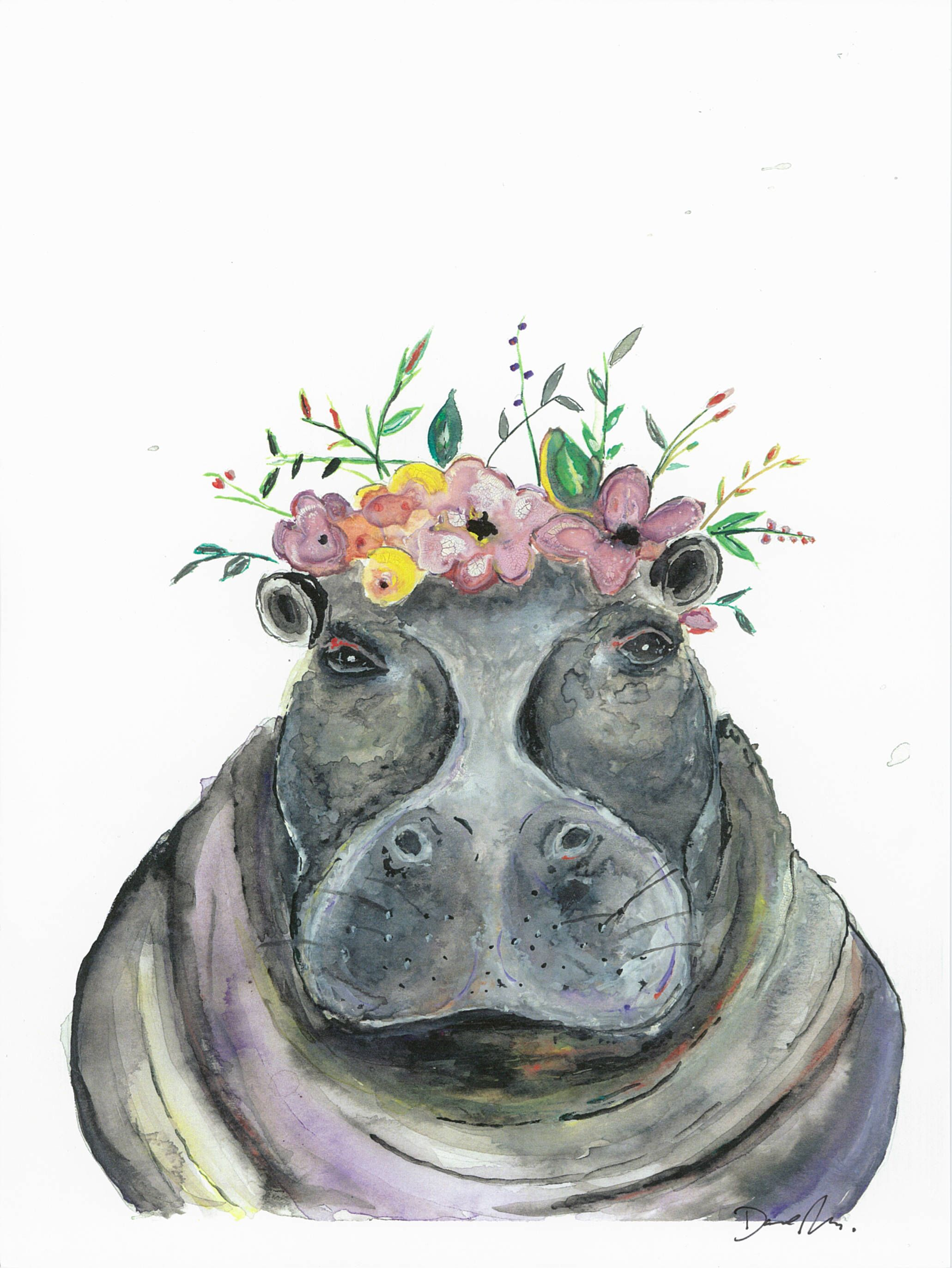 Hippo Watercolor Print Animal Wall Decor Print Painting Home