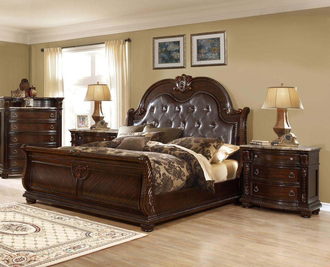 Amesville 4 Pc Walnut Brown Sleigh Bedroom Set Tuscan Bedroom Bedroom Set Sleigh Bedroom Set