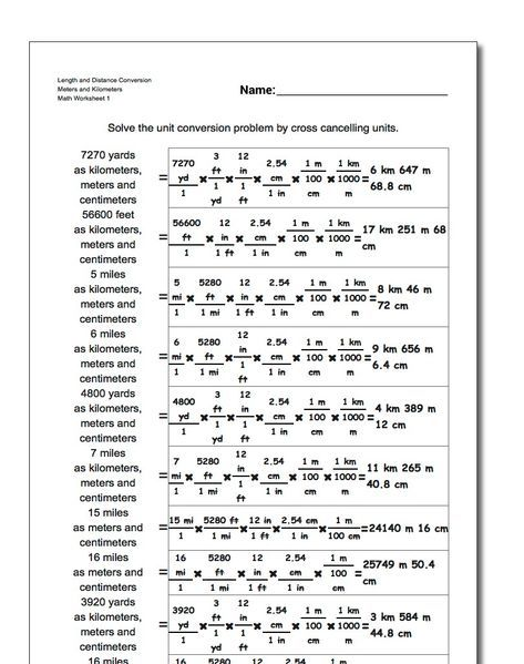 Unit Conversion Worksheets For Converting Customary Lengths To