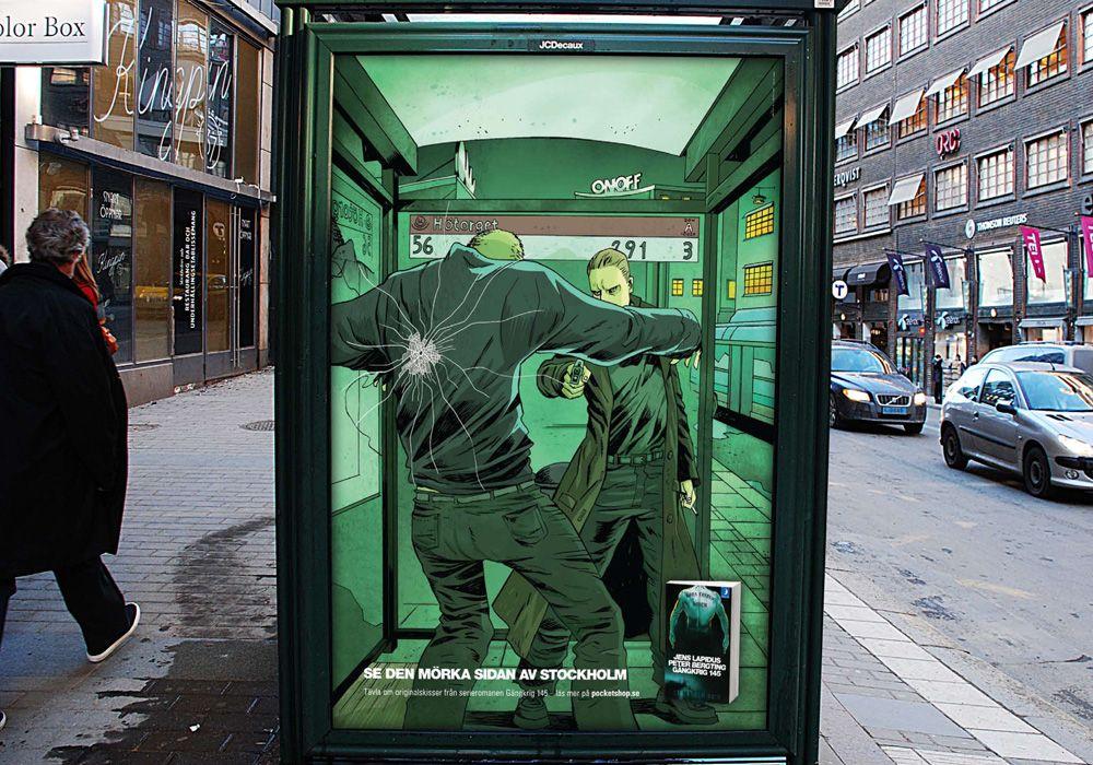 """Chamativo anuncio de """"Gängkrig 145"""", que  é a novela gráfica de Jens Lapidus (o escritor sueco da triloxia negra """"Diñeiro fácil"""")"""