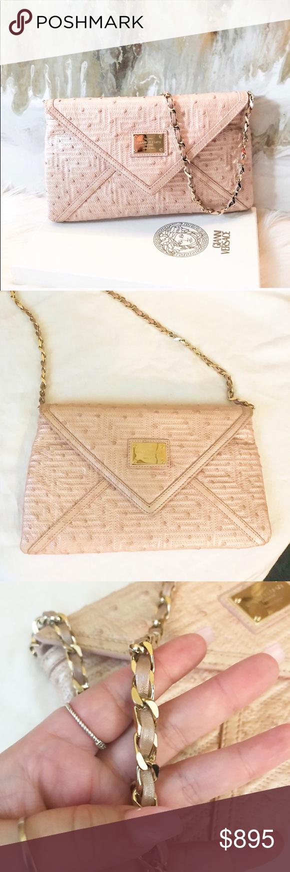 e71369745921 Versace RARE Couture Pearl Ostrich Chain Bag Auth. Gianni Versace Rare Ostrich  Envelope