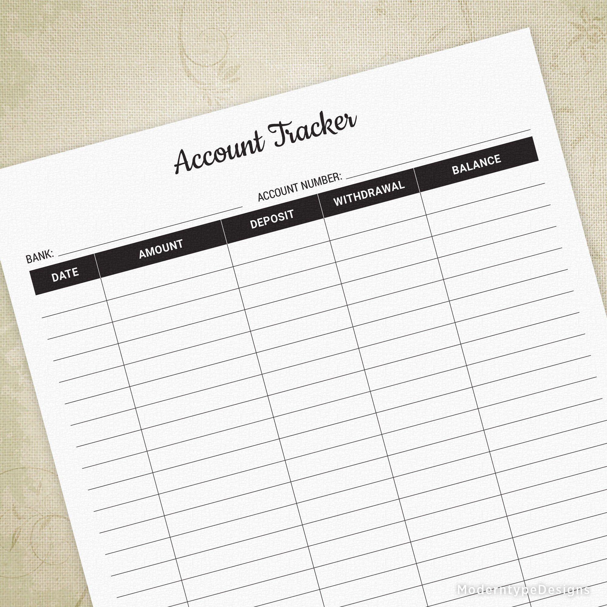 Account Tracker Printable Form Bank Deposit Log Money