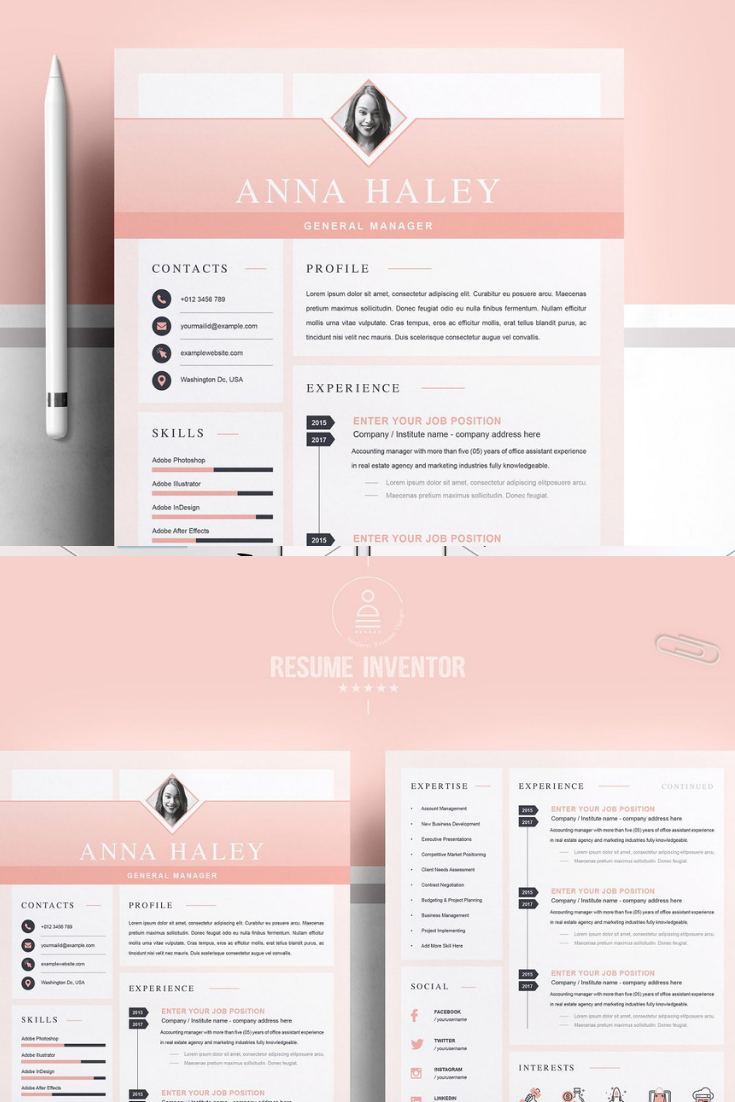 includes  4 page resume templates  if you need more pages